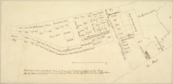 [Drawn plan of the property of Lady Acheson, Moor's Yard, St Martin's Lane and the Strand]